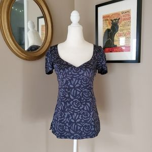 Rebecca Taylor Gray/Black Rose Print Silk Blouse 2